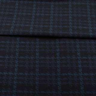 Жаккард стрейч чорний в синю гусячу лапку ш.152 оптом