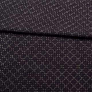 Жаккард стрейч з метанітью чорний в коричневий чотирилисник оптом