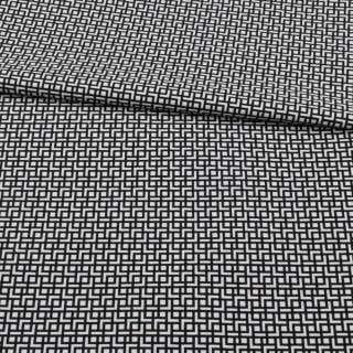 Жаккард стрейч черно-белый, геометрический узор, ш.155 оптом