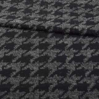 Жаккард черно-серый гусиная лапка, ш.160 оптом