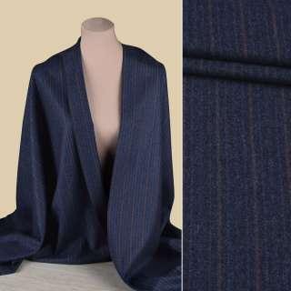 Вовна костюмна GUABELLO с кашеміром синя в блакитну, бузкову смужку, ш.153 оптом