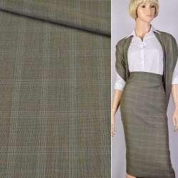 Ткань костюм. оливково-бежевая в голубую клетку Германия ш.153 оптом