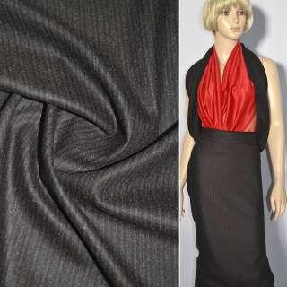 Кашемір костюмний коричневий темний в молочну смужку ш.150 оптом