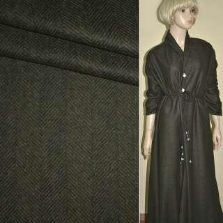 Шерсть костюмная с кашемиром в елочку коричневая PHILIPP, ш.157 оптом