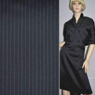 шелк костюмный темно-синий в полоску ш.140 оптом