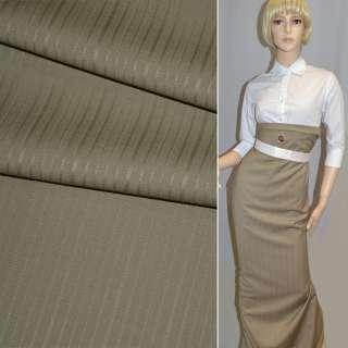 Ткань костюм. темно-бежевая в полоску Германия ш.154 оптом