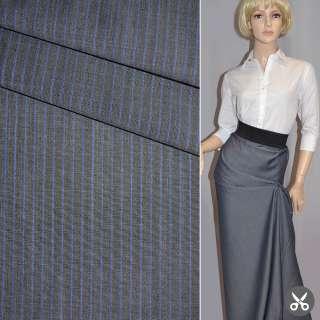 Ткань костюм. серая в светло-синюю полоску Германия ш.155 оптом
