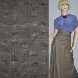 Шерсть костюмная  оливковая с серой клетк. ш. 140 см. оптом
