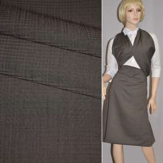 Ткань костюм. коричнево-серая в мелкие квадраты Германия ш.153 оптом
