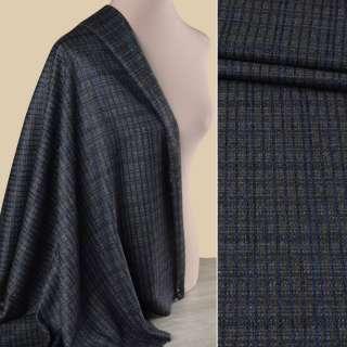 Вовна костюмна GUABELLO з шовком сіра в синю клітку ш.152 оптом