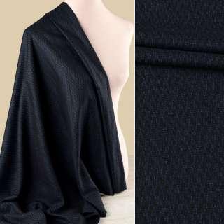 Вовна костюмна GUABELLO з шовком чорна в синій візерунок ш.155 оптом