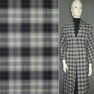 Шерсть костюмная светло-серая в черно-серую клетку ш.155 оптом