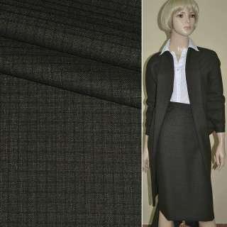 """Ткань костюмная коричневая в клетку """"PHILIPP"""" Германия ш.148 оптом"""
