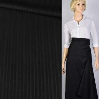 Ткань костюмная черная в полоску Германия ш.157 оптом