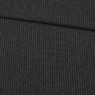 Шерсть с кашемиром черная в тонкую серую полоску, ш.155 оптом