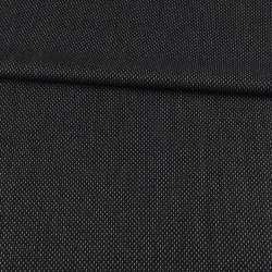 Шерсть костюмная черная в белый пунктир ш.154