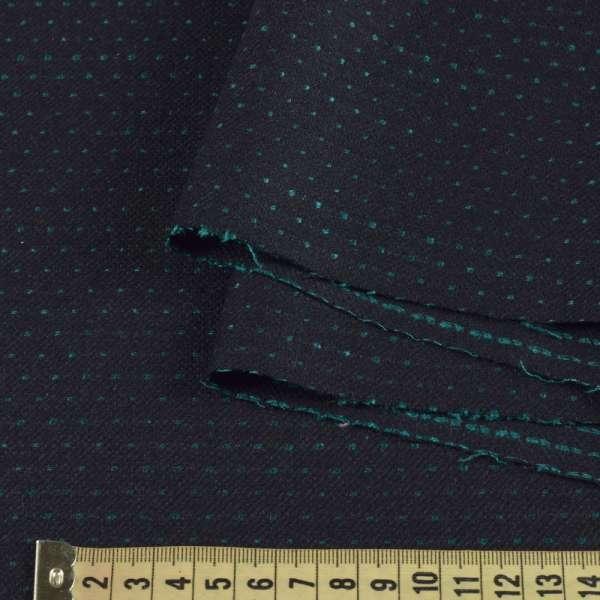 Шерсть костюмная двухсторонняя черная в зеленую точку ш.157 оптом