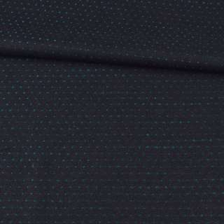 Шерсть костюмна двостороння чорна в зелену точку ш.157 оптом