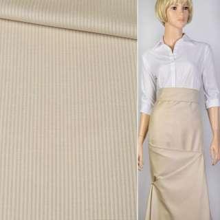 Ткань костюм. песочная в полоску Германия ш.156 оптом