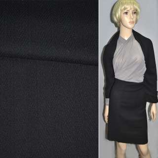 Ткань костюмная черная в елку ш.130 оптом