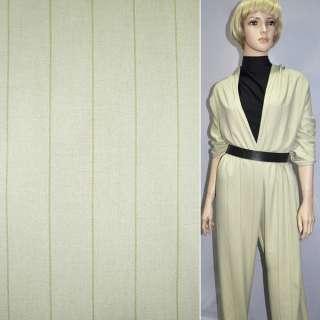 Ткань костюмная оливковая в широкую полоску, ш.150 оптом