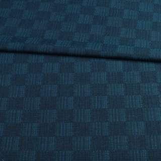Шерсть костюмна в синю і бірюзову шахматку ш.150 оптом