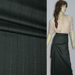 Ткань костюмная темно-зеленая в полоску оптом