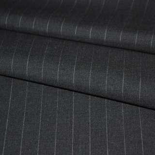 Ткань костюмная черная в тонкую полоску оптом