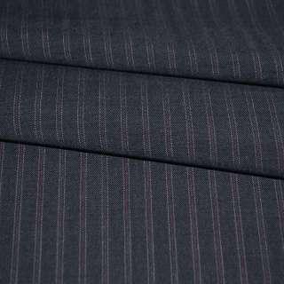 Ткань костюмная синяя в бордовую полоску оптом