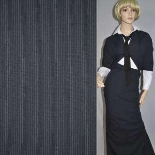 Ткань костюмная темно-синяя в полоску оптом