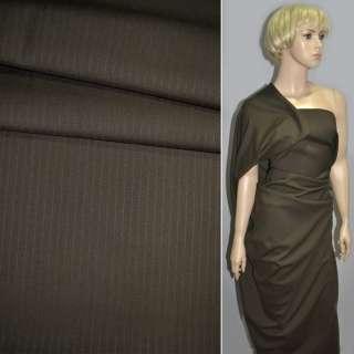 Ткань костюмная коричневая в сиреневую полоску ш.160 оптом