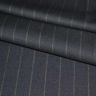 Ткань костюмная синяя темная в широкую полоску оптом