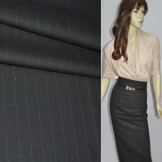 Ткань костюмная темно-серая в полоску оптом