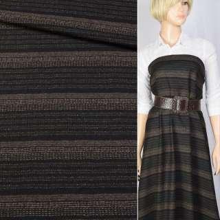 Шерсть Becker черная в коричневые полоски, ш.160 оптом