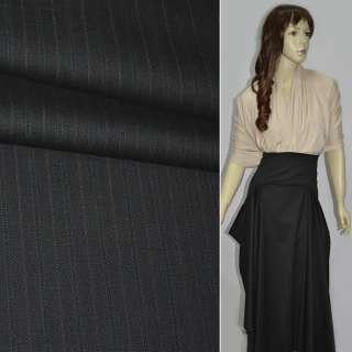 Ткань костюмная черная в сиреневую полоску оптом
