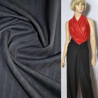 Ткань костюмная черная в двойную полоску оптом