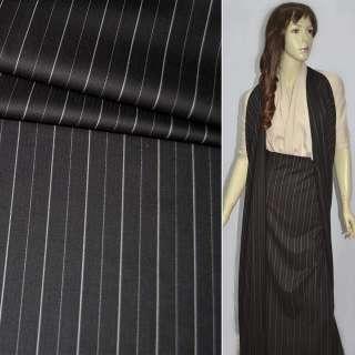Ткань костюмная коричневая темная в полоску оптом
