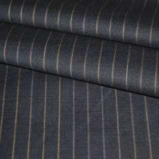 Ткань костюмная черная в коричневую полоску оптом
