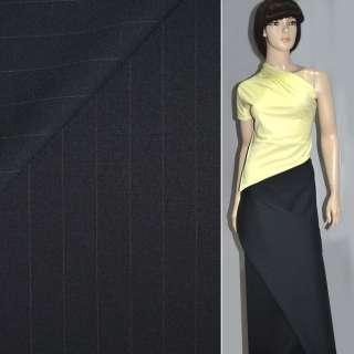 Ткань костюмная темно-синяя в полоску ш.152 оптом