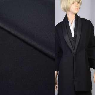 Вовна костюмна стрейч з віскозою чорна (2 сторона - блискуча), ш.143 оптом