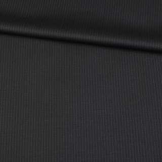Шерсть костюмная черная в тонкую полоску, ш.155 оптом
