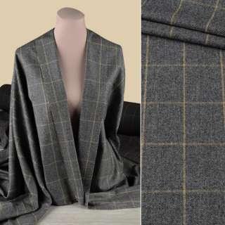 Вовна костюмна GUABELLO сіра в бежеву клітку ш.153 оптом