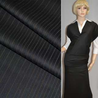 Ткань костюмная черная в бежевые полоски Германия ш.158 оптом
