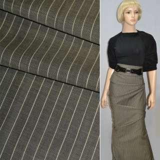 Ткань костюмная коричнево-серая в бежевую полоску Германия ш.154 оптом