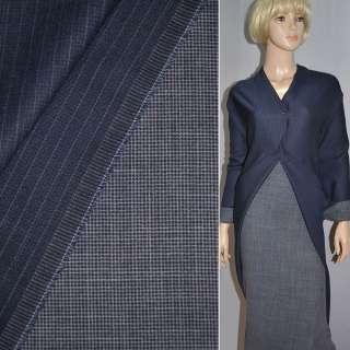 Ткань костюмная 2-ст. сине-серая в полоску и мелкую клетку Германия ш.155 оптом