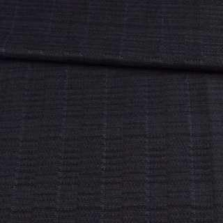 Шерсть жаккардовая чорна в сірі прямокутники ш.158 оптом
