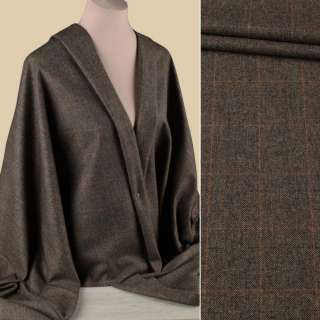Вовна костюмна HARRIS TWEED коричнево-бежева в помаранчеву тонку клітку ш.155 оптом