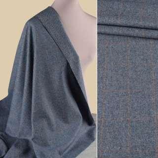 Вовна костюмна HARRIS TWEED синя в коричневу клітку ш.155 оптом