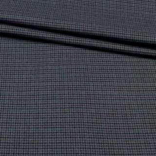 Ткань костюмная гусиная лапка серая в черно-бордовую мелкую клетку, ш.150 оптом