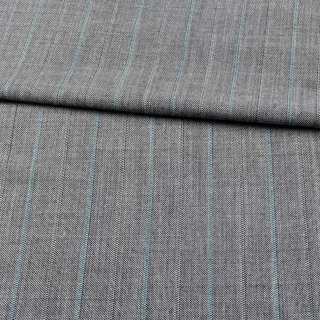 Льон з шерстю костюмний сірий в зелені смужки ш.155 оптом
